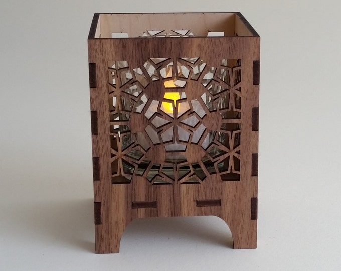Poly Floral design, Sacred Geometry Luminary