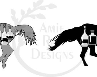 Horses with Bottles Bourbon Barrel Head Design
