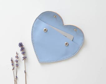 Leather coin pouch - Hearty Blue leather purse / heart purse leather coin purse leather pouch small pouch small purse coin pouch for her