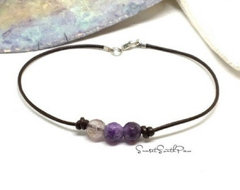 Amethyst Anklet, Boho Anklet, Summer Jewelry ,Bohemian Anklet, Summer Anklet, Woman Anklet, Ladies Anklet, Girls Anklet, Gemstone Jewelry