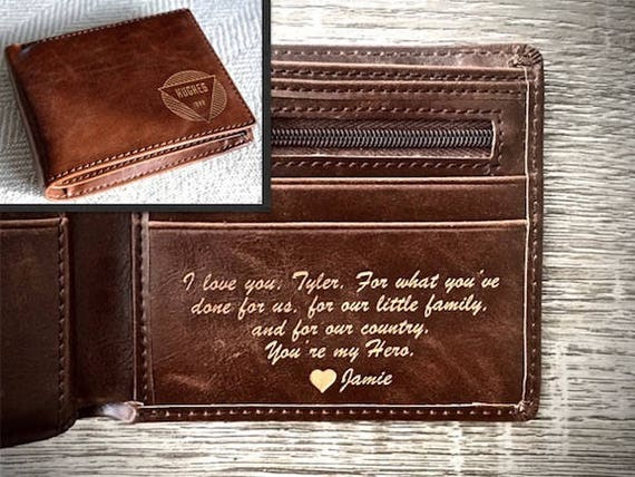 Anniversary Gift Personalized Mens Wallet Husband Gift