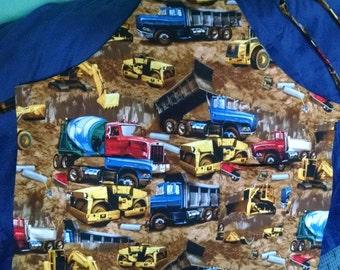 Boys Truck Apron with Pockets, Construction Truck Apron, Small Boys Apron