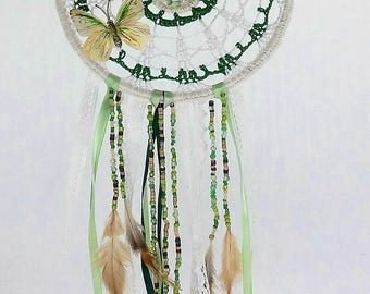 "Dream dream or dream catcher ""butterfly"" crochet green and white cotton with lace, feathers and beads"