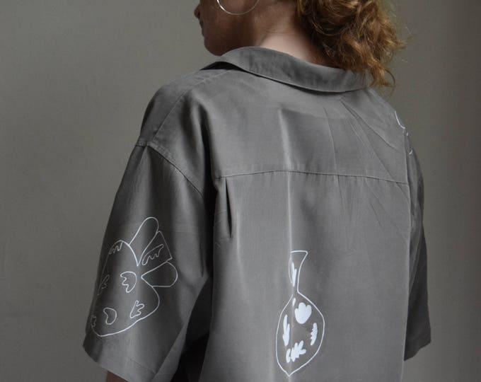 Daia Oversized Charcoal Short Sleeve Shirt.