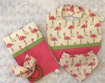 Baby Girl Bib, Bandana, Burp Cloth, Teething Ring Set In Flamingo Pattern - Bright Pink - Newborn To Drooling Teether