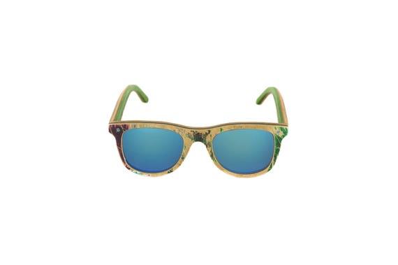 Lunettes de soleil 7PLIS #324 skateboard recyclé #BUMP vert bleu        verre miroir océan catégorie 3