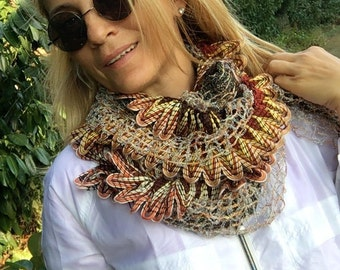 Crochet  scarf, Brown scarf, Fall Autumn, Crochet Lariat Scarf, Long Scarf, Gift for her
