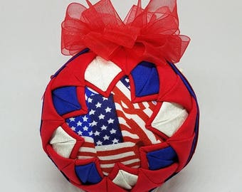 Quilted Fabric Keepsake Ornament 4th of July Hooray For The Red White & Blue III
