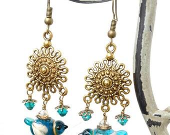 December Birthday Earrings/ Bird Earrings/ Bird Jewelry/ Bluebird/ Blue Bird Earrings/ Handmade Lampwork Earrings/ Glass Bird/ Lampwork Bird