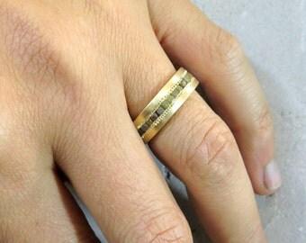 Two tone ring, Diamond wedding band, Mens engagement ring, Rough diamond engagement ring, Mens diamond wedding band, Rough diamond ring