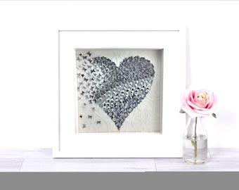 Heart Wall Art silver wall art | etsy