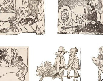 4 Printable PDF Sheets of Cute Vintage Children's Book Illustrations - Nursery Rhymes - Vintage Decoupage Paper, Crafting, Card-Making