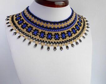 Wide beaded necklace Bead weaving Bead collar Beaded jewelry Black blue necklace Czech beads necklace Ukrainian necklace Beaded jewelry