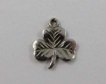 Three Leaf Clover Sterling Silver Vintage Charm For Bracelet
