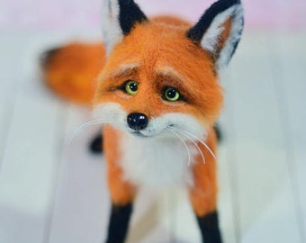 Needle felted fox Fox sculpture Handmade felt doll Figurines sculpture Needle felted animal Handmade animal Fox felted Red fox Doll fox