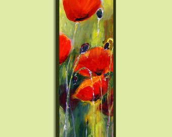 Floral Wall Art, Floral Painting, Original Oil Painting, Flowers Vertical Painting, Original Painting, Red Painting, Poppy Painting