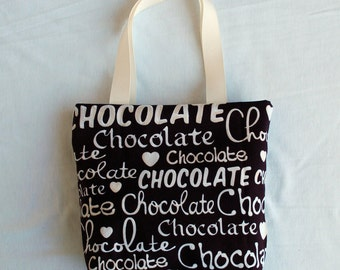Fabric Gift Bag/ Small Tote/ Hostess Gift Bag- Chocolate Love on Brown
