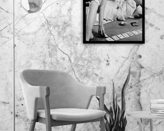 Brigitte Bardot poster, Brigitte Bardot art, vintage art, fashion wall art, black and white photography, digital download, instant download