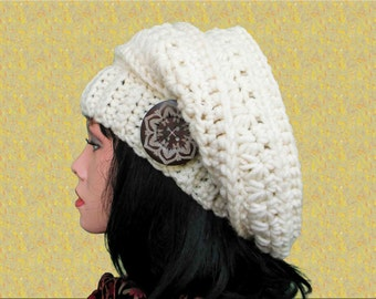 Winter slouchy hat pattern Slouchy beret Crochet hat patterns Crochet beret pattern Slouchy hat crochet pattern Easy crochet pattern for