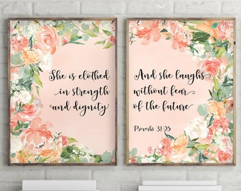 Set of 2 Prints, Baby Girl Wall Art, Nursery Decor, Bible Verse Printable, Nursery Bible Verse Print, Christian Wall Art Decor, BD-1101