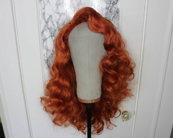 Ginger Red Deep Wave Lace Front Prestyled Wig - Drag Queens, Cosplay, Performers