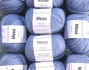 Classic Elite Yarn MESA 100% Cotton Worsted Weight Yarn Faded Denim 4231 Blue Tight Twist 6.99+.99ea to Ship. Nice Stitch Definition & Form.
