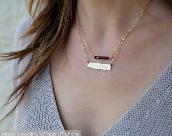 Gold Bar Necklace /Name Bar Necklace/ Name Plate Necklace/ Layer Necklace Gold/ Silver/Bridesmaid Gift/ Wedding Gift/ Gift for Bride/ N244