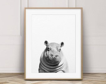 Hippo Print, Baby Hippo, Nursery Decor, Safari Animals, Baby Animal Prints, Black & White Animals, Nursery Wall Art, Kids Room Printable Art