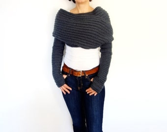 Crochet Pattern - Twilight - Wrap Around Thumbholes Shrug/ Trendy Shouders Coverup/Convertible Scarf with Sleeves