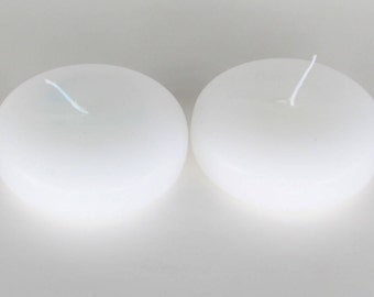 """TWO 3"""" White Floating Candles, 8-10 Hour Burn Time, Great for Floating Centerpieces, Party Table Decor. Unscented."""