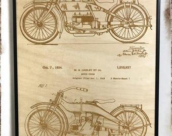 Harley Davidson Patent Artwork, Laser Cut Patent, Harley Blueprint, Harley Davidson Art, HD, HD Art