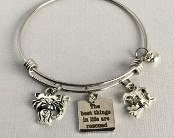 Rescue Animal Bracelet, The Best Things in Life are Rescued, Dog and Cat Charm Bangle, Animal Lover Gift, PET021