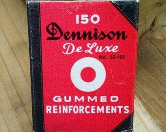 Dennison Gummed Reinforcements little red book box vintage notebook paper hole white stickers stationery office desk supply