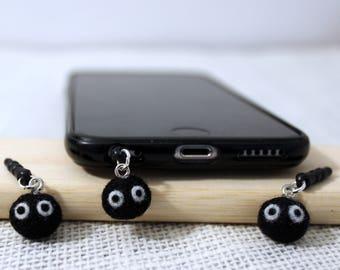 Soot Sprite Dangly Phone Headphone Dust Plug Cute Kawaii Totoro Soot Sprite Spirit Japanese ghlbli totoro spirited away accessory gift charm