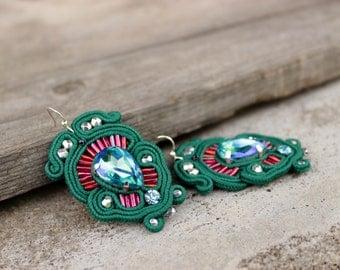 Dark green earrings, Soutache earrings with crystal earrings drop | Planter | Celestial | Green dangle earrings. Gift ideas for sister