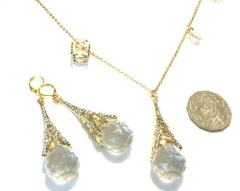 Paris Glitz Pendant Set, Dazzling Gold and Crystal Pendant and Earrings, Gift for Her, Uniquely Different Earring and  Pendant Set,
