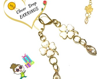 Long Gold Clover Drop Earrings, On Trend  Earrings, On Trend Gift, Cubic Zirconia Earrings, Enamelled Clover Earrings, Stylish Gift