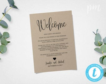 Wedding Welcome Bag Note, Welcome Bag Letter, Welcome Letter, Wedding Itinerary, Welcome Note, Welcome Itinerary, Use Front and Back