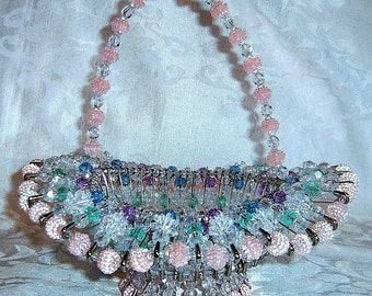 Vintage Beaded Safety Pin Basket in Pastel Colors