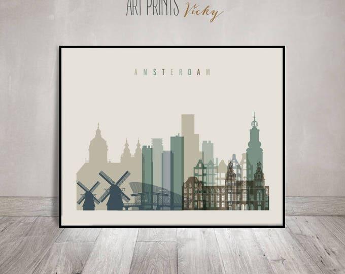 Amsterdam wall art, art print, Poster, Amsterdam skyline, Travel decor, City poster, Netherlands art, Gift, Home Decor, ArtPrintsVicky