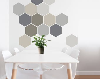Removable Wall Decal, 8 Self Adhesive Geometric Wall Art in Neutral Colours