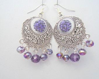 Purple Chandelier Earrings, Crystal Chandelier Earrings, Large Crystal Earrings, Boho Earrings, Gypsy Earrings, Purple Statement Earrings