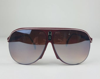 Vintage Burgundy Sport Aviator Sunglasses