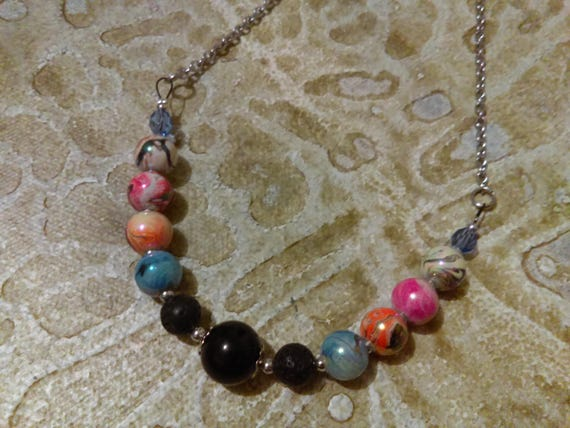 Beaded Chain Necklace Blue Glass Crystal Beads Swirl Pattern Beads Pink Blue Orange Lava Rock Beads Stainless Link Chain