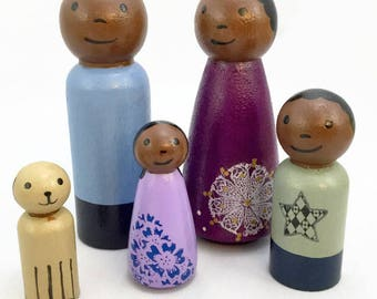 Wooden Peg Doll Family of 4 with Dog - Ready to Ship - Peg Family with Dog - African American Family - Dollhouse Family