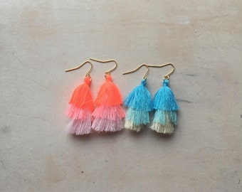 Ombre Blue and Pink Tiered Tassel Earrings