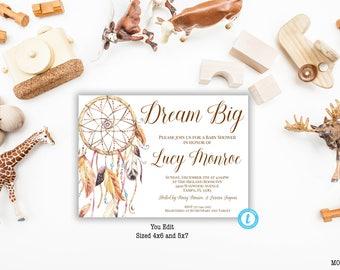Dream Catcher Baby Shower Invitation, Dreamcatcher Boho Baby Shower Invitation, Dream Catcher Invite, Dream Catcher Template, You Edit, DIY