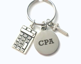 Gift for CPA Key Chain, Chartered Professional Accountant Present, CPA KeyChain, Accounting Graduation Keyring with Initial letter men him