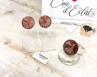 Parures Clous d'oreilles + Bagues Swarovski® et Argent 925 - Vieux Rose