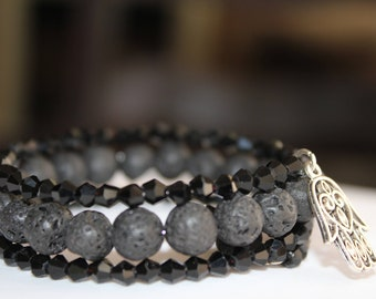Lava Stone Beads. Memory Wire, Hamsa Charm, Glass Beads